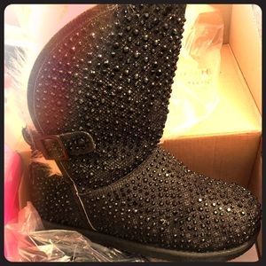 Other - Black glitter bling boots
